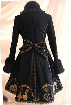 repinned: Cinderella Embroidery Coat back (black) /the princess's story figured on a garment reminiscent of mid-18th century wide-skirted MALE coat?