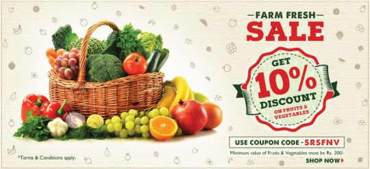 Shop online fresh fruits and vegetables at cheap and best price from SRSGrocery.com that is one of the best and popular grocery shopping store in NCR