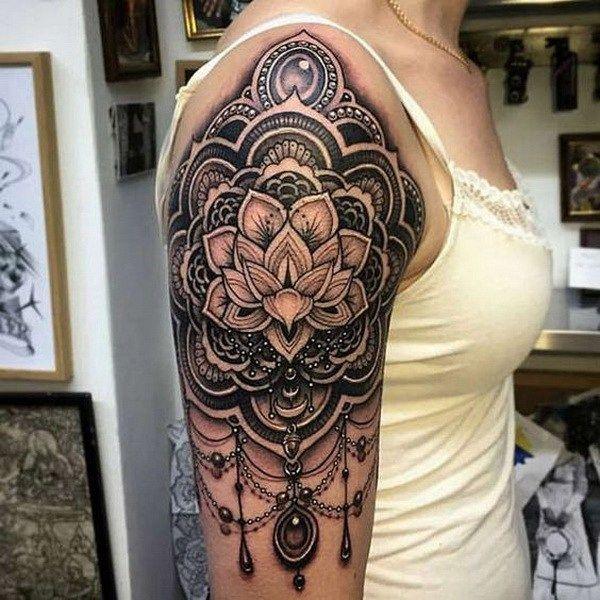 Geometrical Half Sleeve Tattoo. www. http://forcreativejuice.com/cool-sleeve-tattoo-designs/