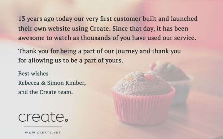 Create is 13 years old today. Thank you everyone. #birthday