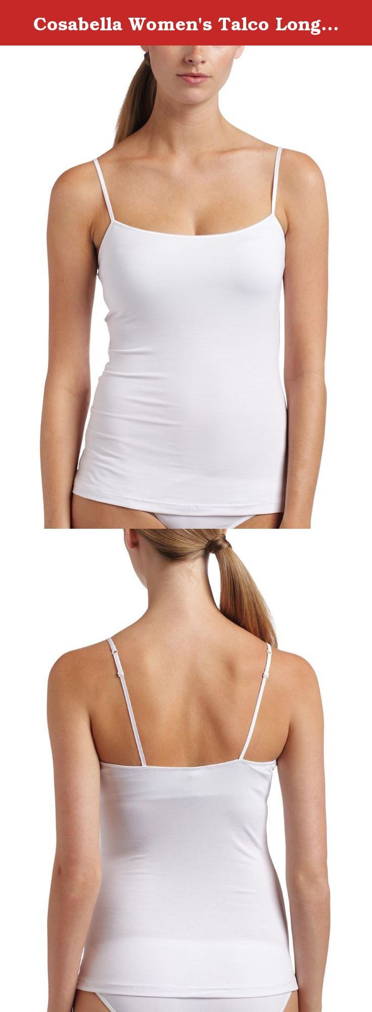 Cosabella Women's Talco Long Camisole, White, Medium. Rich viscose jersey with soft elastic on waist and back.