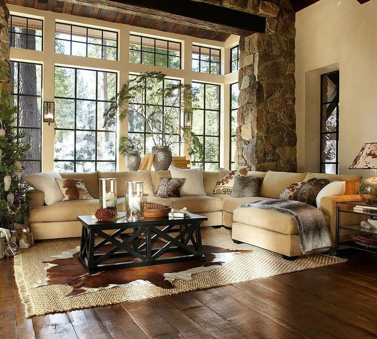 The stone, the windows, the area rugs.  Love it.