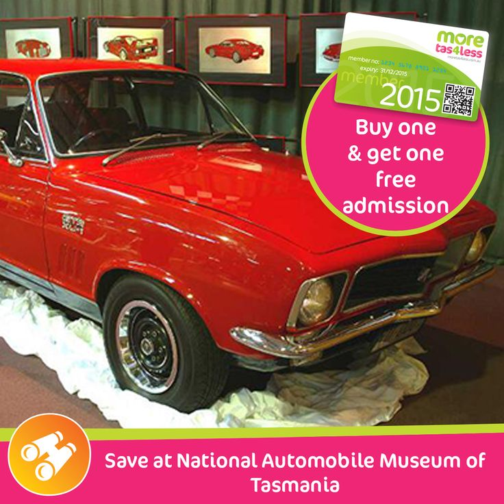 Save with 2 for 1 entry at the National Automobile Museum of Tasmania, Launceston  see more, live more, save more in Tasmania with a moretas4less discount card .  For only $37 this little card can save you big dollars
