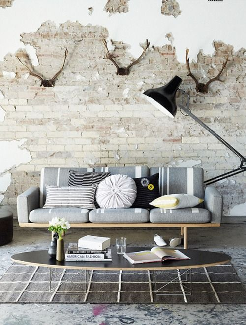 : Lamps, Idea, Living Rooms, Couch, Antlers, Interiors Design, Interiordesign, Expo Brick, Exposed Brick Wall