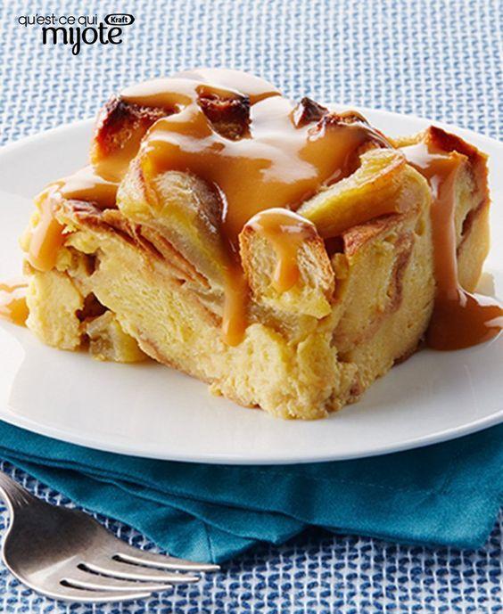 Pouding au pain aux pommes à la mijoteuse et sauce aux caramel écossais #recette
