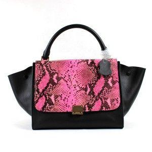 Love! - Celine Trapeze Handbag In Phyton Pink Leather