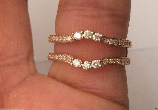 10k Rose Gold Past Present Future Three Stone Diamond Ring Guard Solitaire…