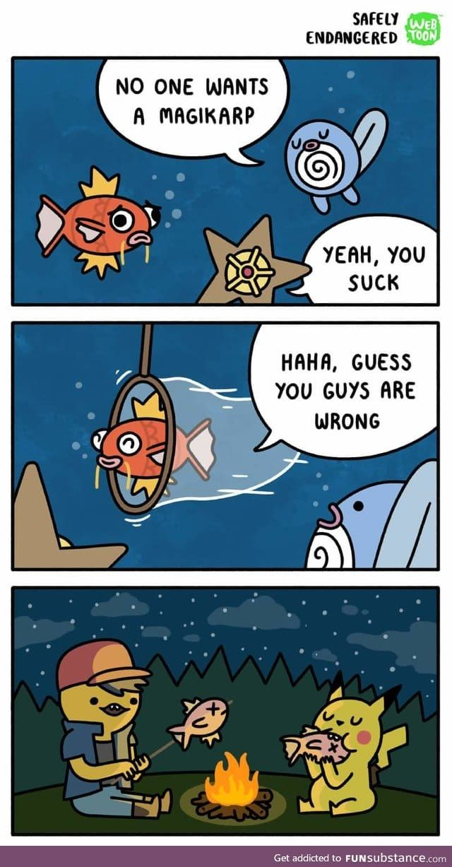 The Real Use Of A Magikarp Funsubstance Funny Cartoons Pokemon Funny Funny Comic Strips