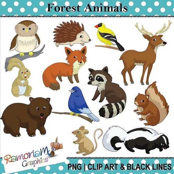Find high quality forest trees clipart, all png clipart images with. Forest Woods Animals Clip Art Etsy Wood Animal Animal Clipart Animals