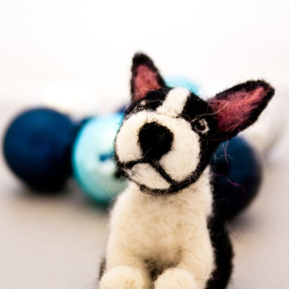 Boston terrier ornament Miniature Boston terrier by CraftsByKeri, $25.00