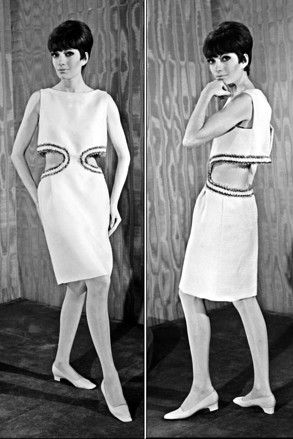 Paris, spring/summer 1966 haute couture: Geometric cutouts give a sexy edge to Cardin's ladylike looks.