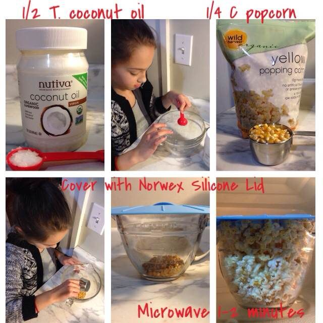 Norwex Silicone lids + glass bowl=healthy, cheap, fast popcorn!