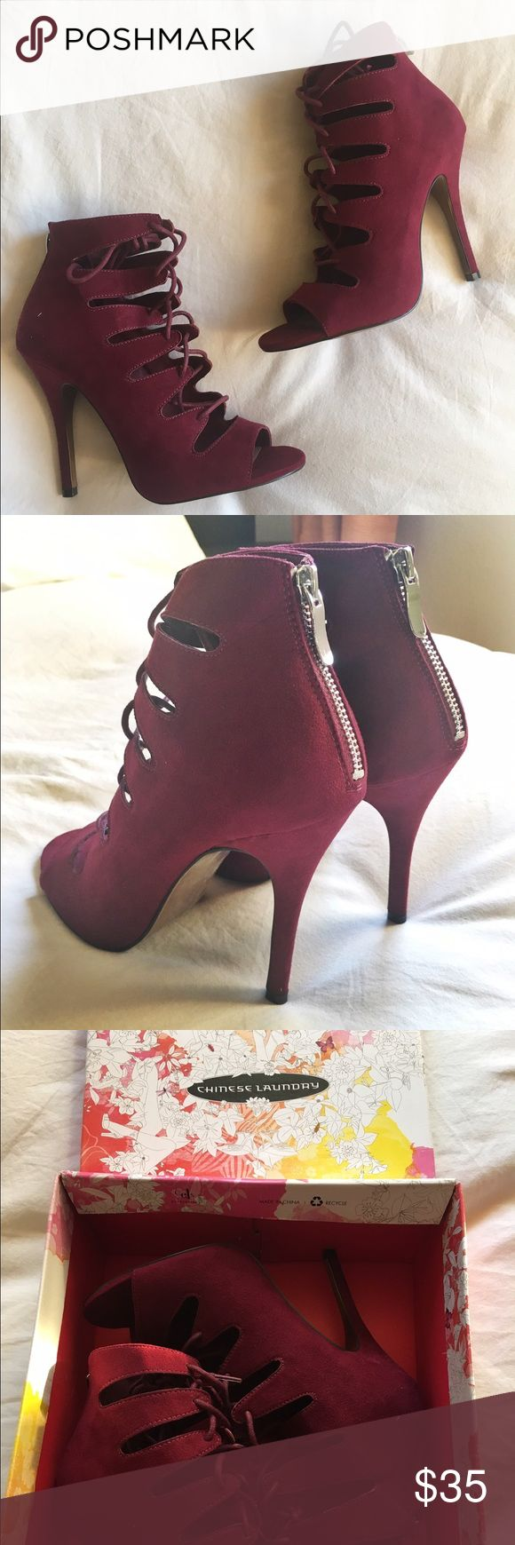 "Lace Up Burgundy Heels Chinese Laundry. Burgundy microsuede 3"" heels. Brand New. Chinese Laundry Shoes Heels"