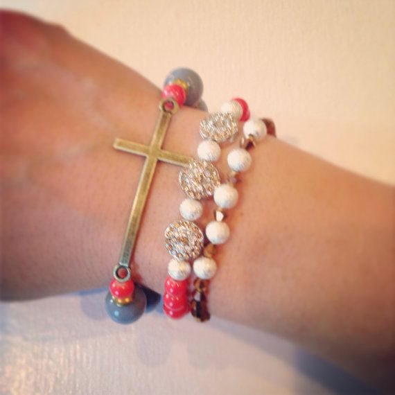 Coral cross bracelet set by AroundMyWrist on Etsy