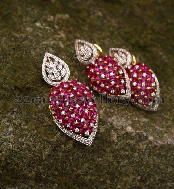 Ruby Diamond Leafy Pendant