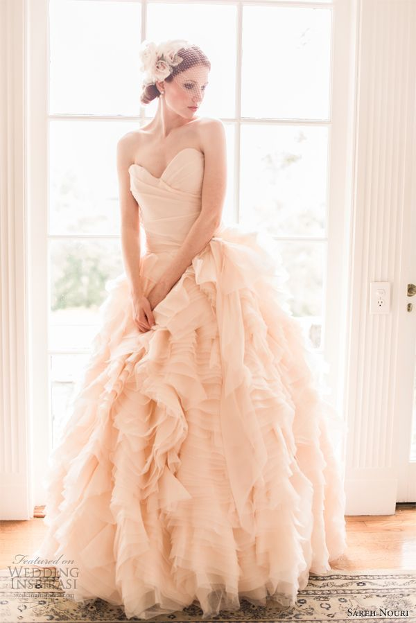 sareh nouri blush pink wedding dress spring 2013