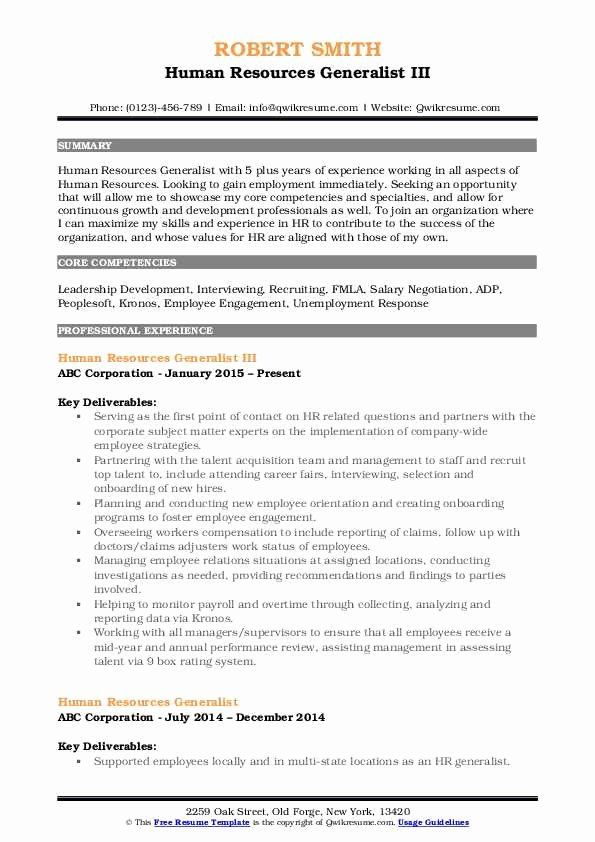 Human Resources Generalist Resume Example Best Of Human Resources Generalist Resume Samples Job Resume Samples Counselor Job Description Sales Resume Examples