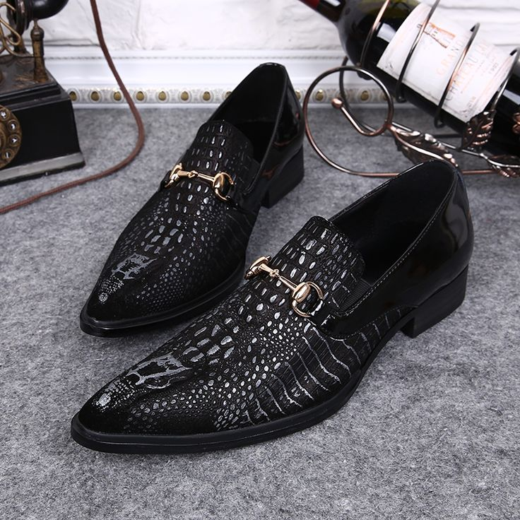 High Quality Cheap Price Black, Coffee Crocodile Pattern Men Dress Shoes Pointed Toe Wedding Shoes Slip On Patchwork Zapatos#mens pointed toe dress shoes