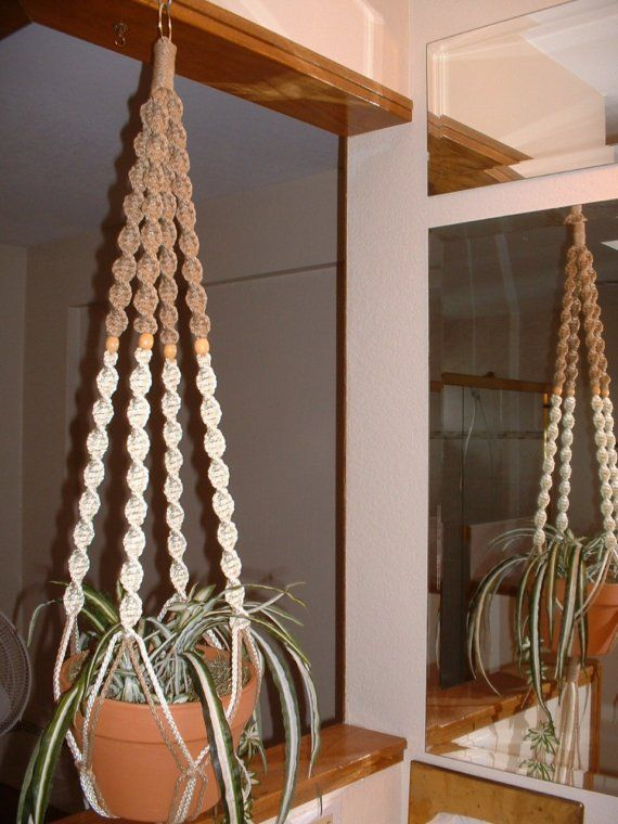 Macrame Plant Hanger White and Sand 4 Tan by unLIMITEDbySilvy