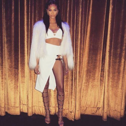 chanel-iman-instagram-bossa-sao-paola-white-buckle-detail-high-side-slit-skirt-giuseppe-zanotti-gold-sandals