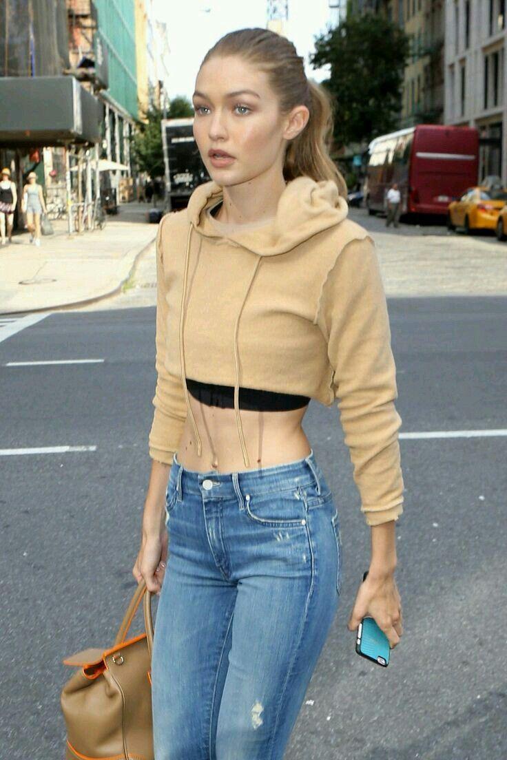 Gigi Hadid in tan top
