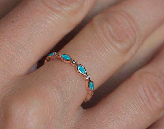 Turquoise Wedding Ring Turquoise Diamond Band by capucinne on Etsy