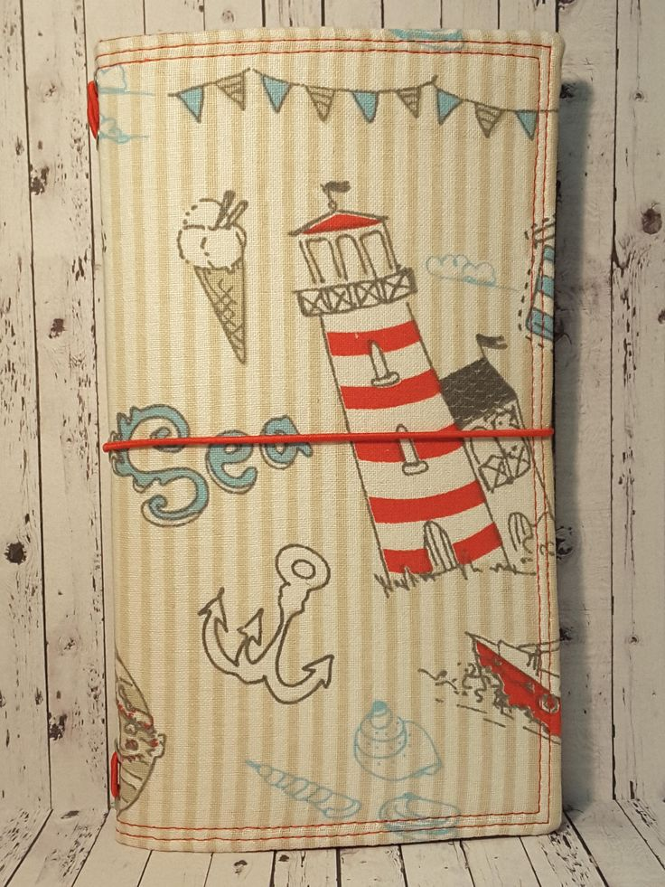 Wilddori 'Lighthouse at Sea' Travelers Notebook Journal with Red Lining and Red Elastic, Midori Style Fauxdori, with Insert. by WildWicksGifts on Etsy