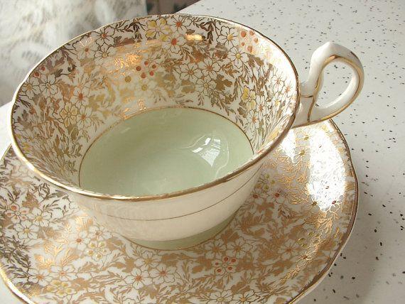 Vintage English tea cup set, Royal Stafford bone china tea cup and saucer, gold tea cup, green tea set