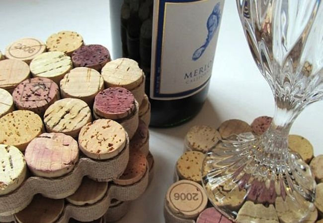 Wine Cork Coasters- something like this but taller, maybe for the mason jars to stand on