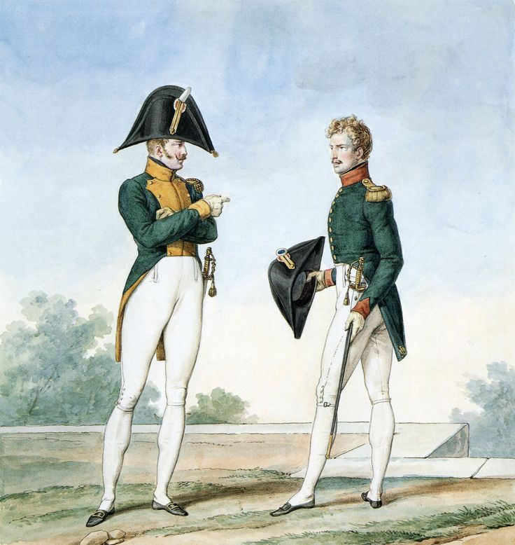 French Army 1812 Cheveux Legers officers in Society Dress by Vernet