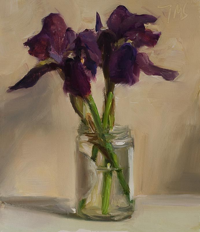 daily painting titled Irises in a jam jar - click for enlargement