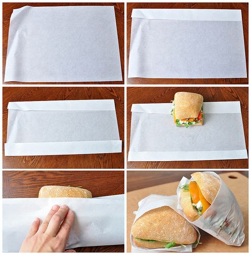 How to fold parchment paper into a sandwich bag, for a plastic-less life.