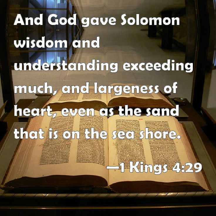 1 Kings 4:29 And God gave Solomon wisdom and understanding exceeding much, and largeness of heart, even as the sand that is on the sea shore.