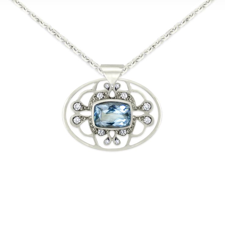 1920's glamour. Pendant necklace in 18K white gold with aquamarine and diamonds. #diamonds #jewelry #jewellery #necklace