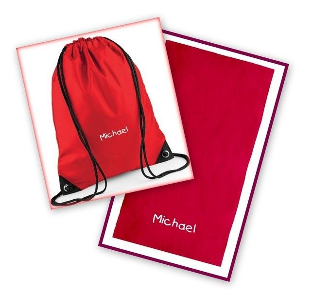 Embroidered Swimming Kit - Towel & Drawstring Bag £20.00