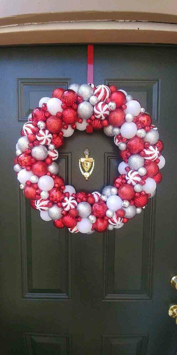 Gorgeous Red White And Silver Ornament Christmas Wreath With Jingle Bells Bauble Wreath Holiday Wreath Christmas Decor Christmas Wreaths Christmas Ornament Wreath Christmas Wreaths Diy