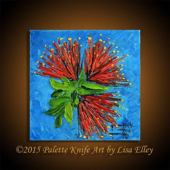 Palette Knife Painting, Pohutukawa, Modern Art Landscape, Original Oil, Textured Souvenir, New Zealand Trees. Artwork by Lisa Elley  T I T L E: Little Pohutukawa  I N S P I R E D* B Y: My love of the indigenous New Zealand Christmas Tree, the Pohutukawa.  Y E A R: 2014  G O E S*G R E A T*W I T H https://www.etsy.com/nz/listing/166819389/palette-knife-painting-modern-art  S I Z E: 6 X 6 X 1.5 Inches. Please note this is a small painting. No brushwork, 100% palette knife  M A T E R I A L S…
