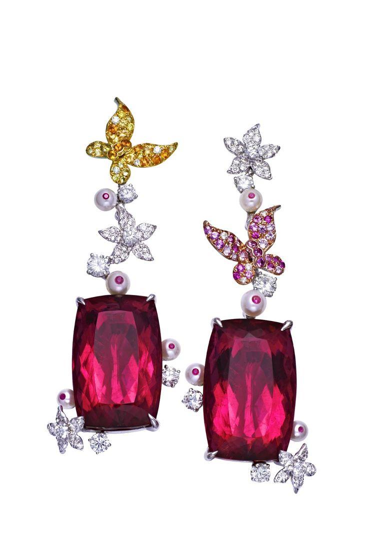 ANNA HU ~ Butterfly Garden Earrings in Rubellite