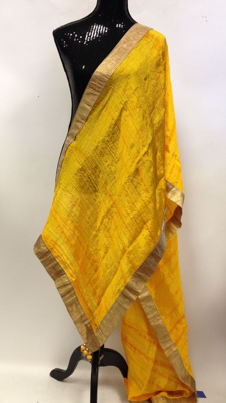 Silk Dupatta - Yellow & Golden
