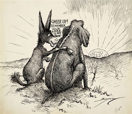 1930s cartoonist | 1930 cartoon shows the Democratic donkey consoling ...