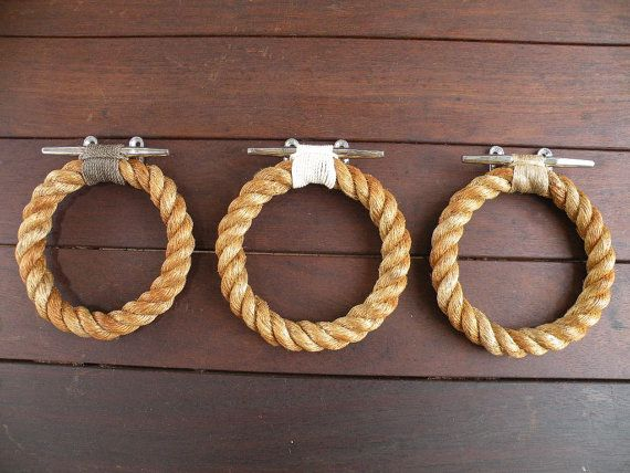 ROPE TOWEL RING handmade manila rope  for bathroom or kitchen, boat or outdoors undercover