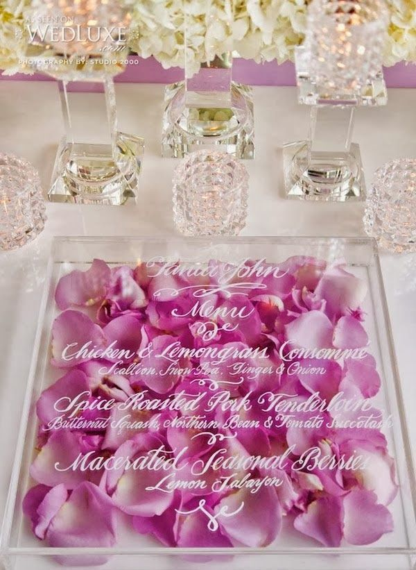 Love This Rose Petal Acrylic Menu Card Style File Clarity Of Love