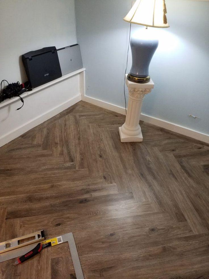 my new DIY vinyl plank floor in a herringbone pattern no