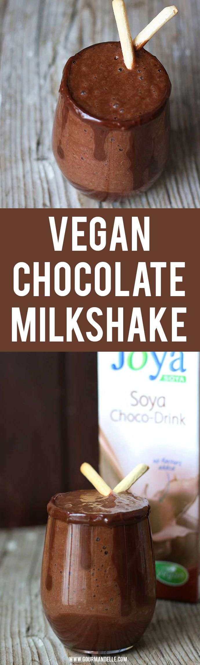 #Vegan #Chocolate #Milkshake - Forget the unhealthy, sugary milkshakes and try this vegan chocolate milkshake recipe instead! It's healthy, ready in less than 5 minutes and can even be served for breakfast!  https://gourmandelle.com/vegan-chocolate-milkshake/