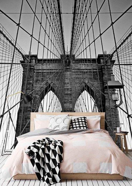 Vlies fotobehang Close-up Brooklyn Bridge - Steden en skyline behang | Muurmode.nl