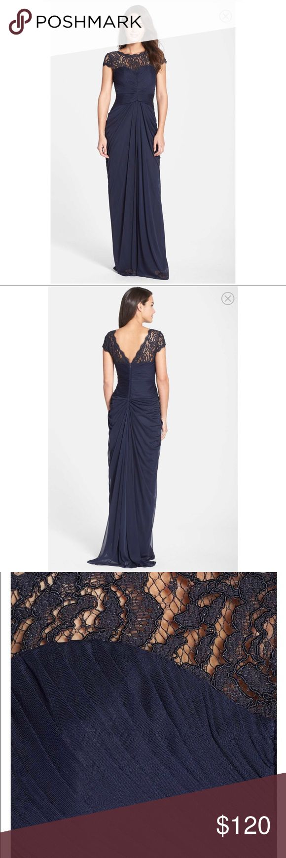 """Adrianna Papell Lace Yolk Drape Gown Color: Ink (dark blue). I'm 5'1 / 135 lbs / 34C. The size 4 is very generous. With 3"""" heels, the dress is still too long so I'd recommend this dress for someone really tall unless you want to get it tailored. It definitely does a great job at slimming the waistline. 😜 OFFERS considered. Adrianna Papell Dresses Wedding"""
