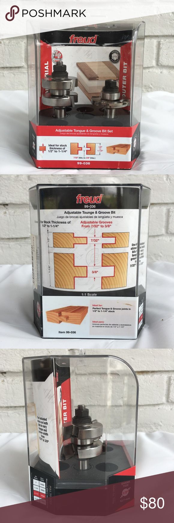 """Freud Adjustable Tongue & Groove Router Bit Set ▫️Ideal for stock thickness of 1/2"""" to 1-1/4"""" and groove widths of 7/32"""" to 3/8"""" Freud Accessories"""