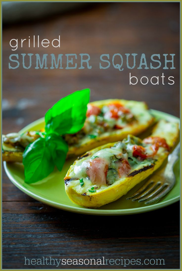 Vegetarian Grilled Summer Squash Boats on healthyseasonalrecies.com