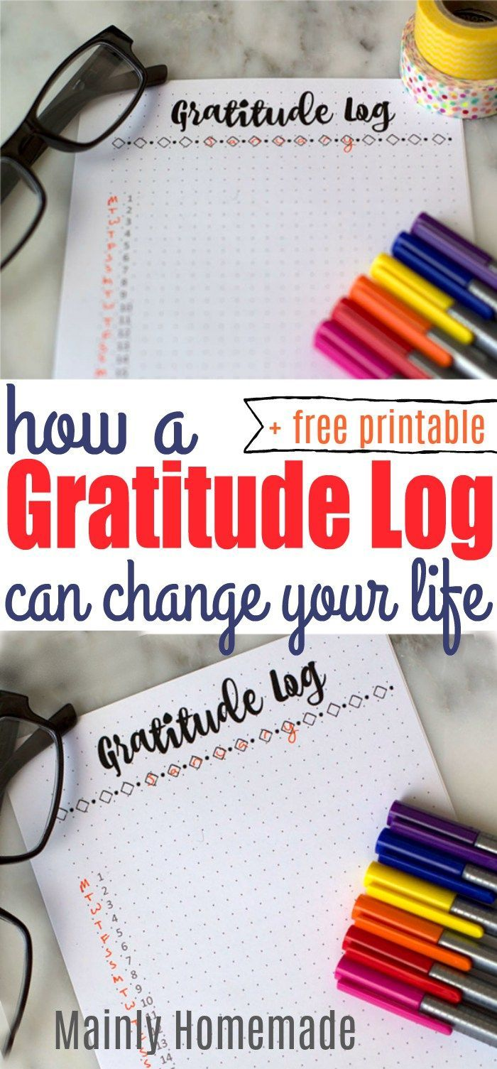 How a gratitude log can change your life. Get this free printable to start creating your own gratitude log in your bullet journal or planner!