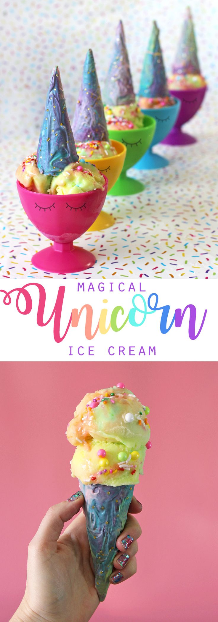 These fun DIY unicorn ice cream cone treats will add mystical magic and colorful sparkle to your unicorn themed party. #hobbylobbymade #ad